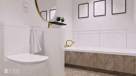 Łazienka w stylu francuskim z jodełką