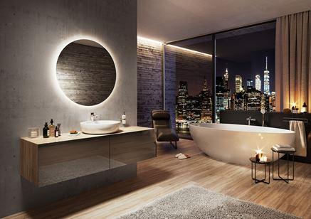 Nowoczesny salon kąpielowy z armaturą Ferro Dijon