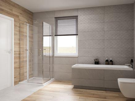 Pomysł na połączenie różnych struktur i motywów w łazience