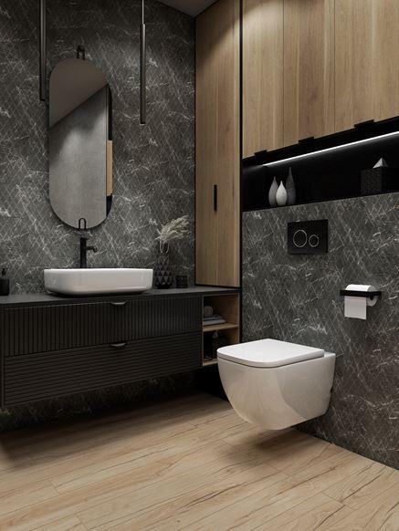 Jasne drewno i szare heksagony w nowoczesnej łazience