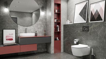 Kamień i heksagony w szarej łazience