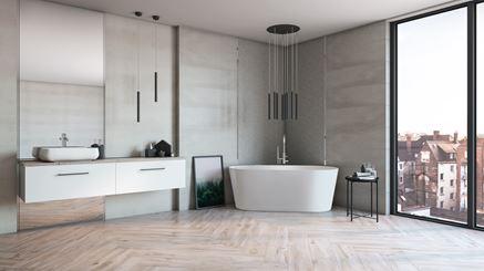 Płytka Azario Evatio w dużym salonie kąpielowym