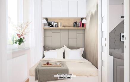Tapicerowany zagłówek i zabudowa sypialni