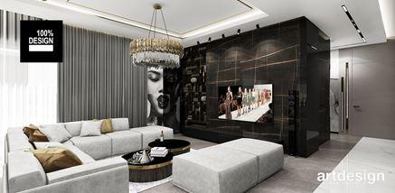 Ścianka RTV i biblioteczka w eleganckim salonie