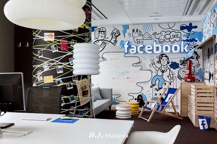 Aranżacja biura Facebooka - projekt biura Madama