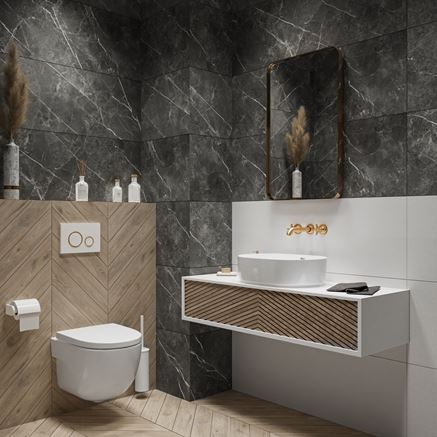 Kamień Paradyż Noisy Whisper w stylowej toalecie