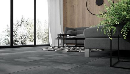 Salon z ciemnoszarą podłogą