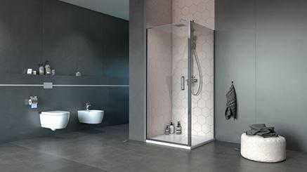Kabina narożna Excellent Mazo w nowoczesnej i minimalistycznej łazience