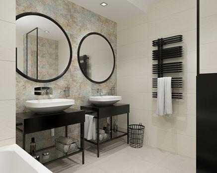 Rdzawy akcent w stonowanej łazience - Tubądzin Interval