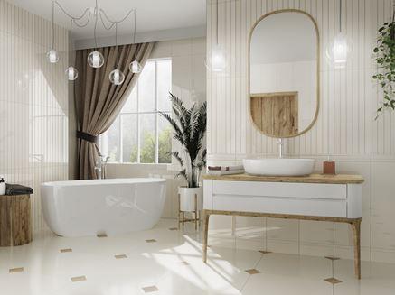 Aranżacja dużej łazienki w jasnych kaflach Tubądzin Royal Place
