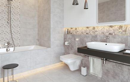 Szara łazienka z mozaiką i florystycznym dekorem