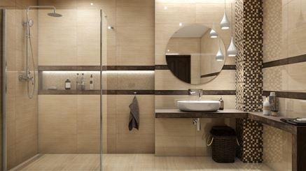Aranżacja beżowej łazienki z Tubądzin Fiorino