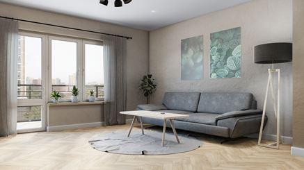 Salon wypoczynowy w jasnej kolorystyce z jodełkową podłogą