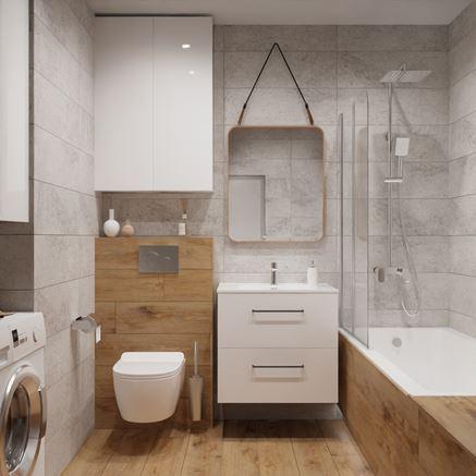 Aranżacja niedużej łazienki w drewnie i kamieniu
