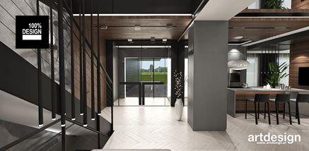 Strefa przed przeszklonymi drzwiami wejściowymi w nowoczesnym domu