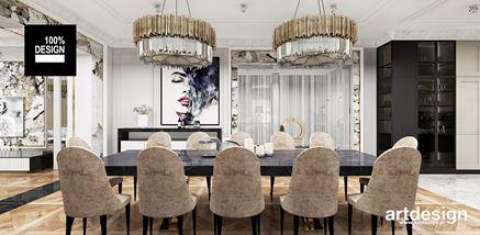 Jadalnia w rezydencji w stylu glamour