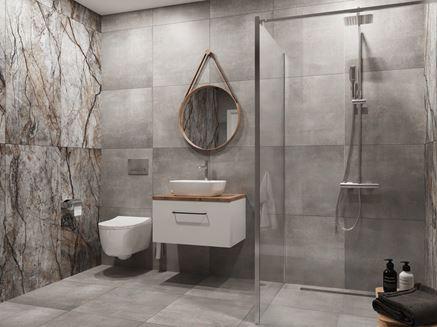 Szara łazienka z dekoracyjną płytą wielkoformatową