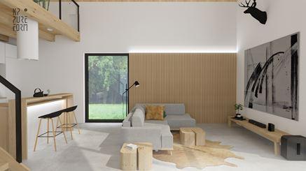 Strefa dzienna nowoczesnej stodoły w projekcie KP Pure Form
