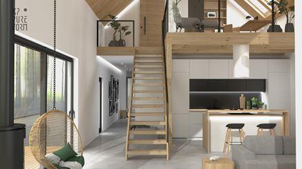 Drewniane schody na antresolę i aneks kuchenny