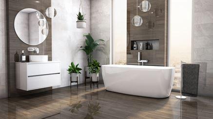 Beton i ciemne płytki drewnopodobne - nowoczesna łazienka z wanną