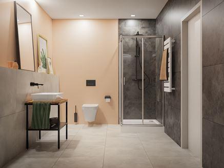 Kremowa łazienka w szarościach Opoczno Quenos