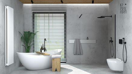 Łazienka w modnym, jasnym betonie
