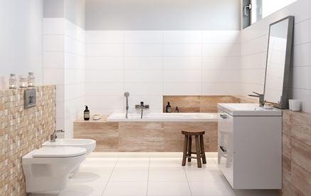 Biała łazienka z elemanetami drewna Cersanit Forest Soul