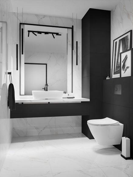 Czarno-biała toaleta w marmurze