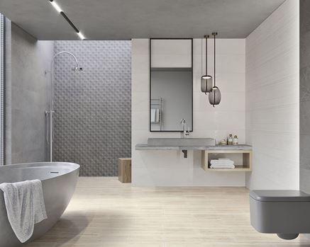 Minimalistyczna łazienka w szarościach