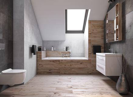 Nowoczesna łazienka z połączeniem drewna i betonu