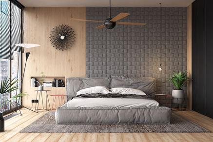 Pikowana kamienna ściana w sypialni