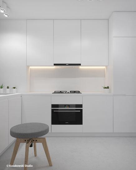 Biały aneks kuchenny w kawalerce