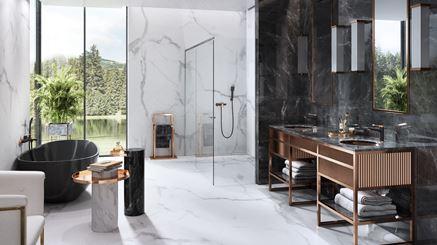 Luksusowa łazienka w czarno-złotym wymiarze