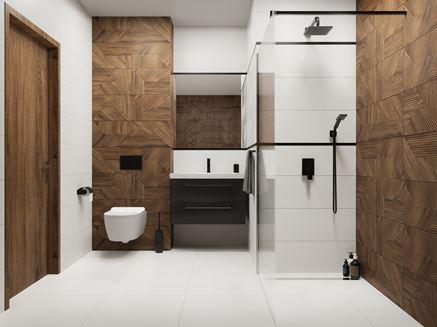 Nowoczesna łazienka w bieli i brązie Paradyż Woodskin