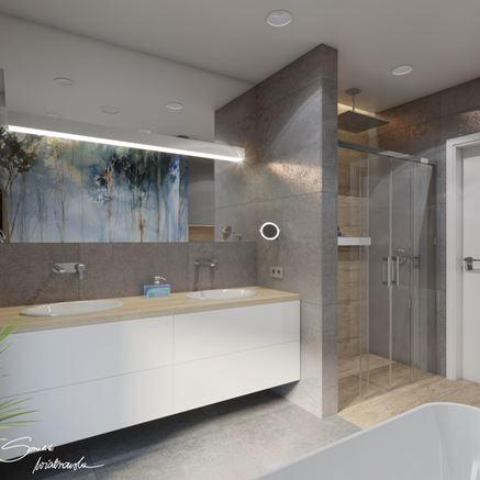 Prysznic we wnęce i modny beton