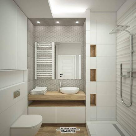 Biała łazienka z prysznicem bez brodzika