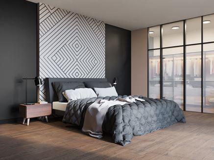 Sypialnia w drewnie w ciemnych barwach