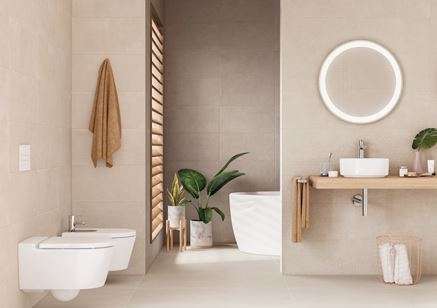 Beżowa łazienka z białą ceramiką