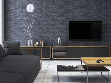 Czerń w nowoczesnym salonie z płytkami klinkierowymi