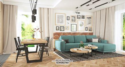 Salon z prostokątnym stołem jadalnym