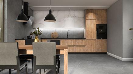 Szara kuchnia z dodatkiem drewna i marmuru
