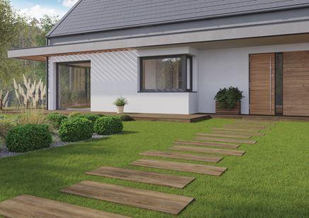 Nowoczesny ogród z płytką tarasową w drewnie