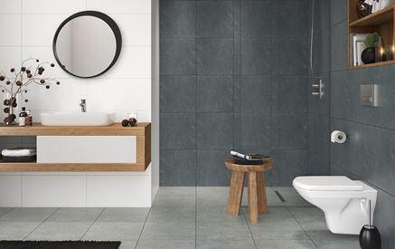 Łazienka z płykami inspirowanymi betonem Cersanit Lando