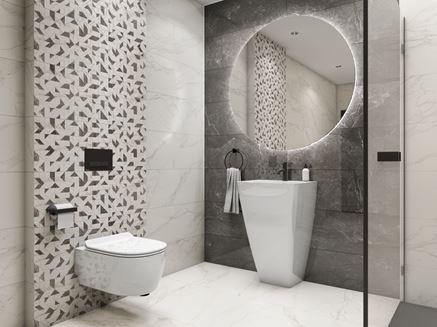 Szaro-biała łazienka z geometrycznymi dekorami