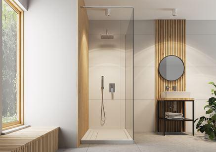 Nowoczesna łazienka z prysznicem walk-in i industrialną konsolą