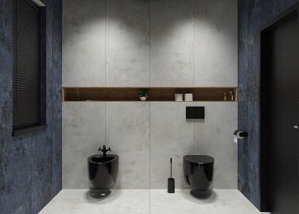 Czarna, podwieszana ceramika w szarej łazience Tubądzin Torano
