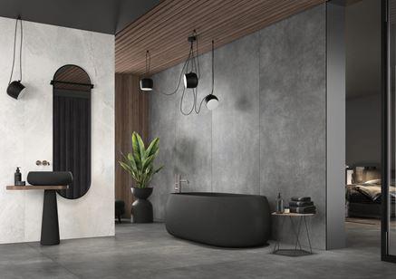 Industrialna łazienka w wielkoformatowych płytach