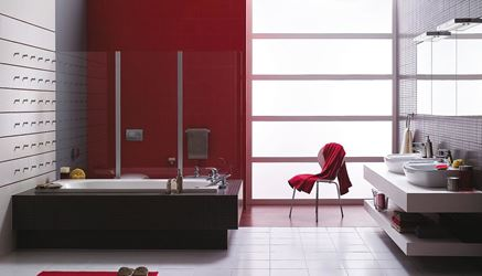Łazienka z mocnym, czerwonym akcentem Opoczno Inwencja