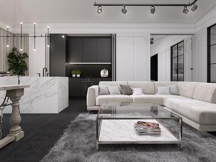 Czarno-biała strefa dzienna w domu jednorodzinnym