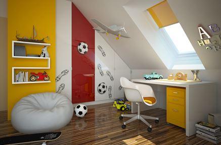Kolorowy pokój chłopca na poddaszu
